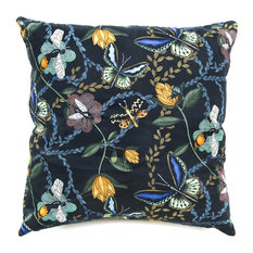 Bugs and Butterflies Cushion Cover, Black, Small