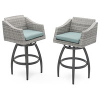 Deco Swivel Outdoor Bar Stools, Set of 2 by RST Brands, Aquamarine