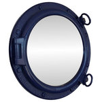 """Handcrafted Model Ships - Porthole Mirror, Navy Blue, 20"""" - This Navy Blue Porthole Mirror 20"""" adds sophistication, style, and charm for those looking to enhance rooms with a nautical theme. This boat porthole has a sturdy, heavy and authentic appearance, yet it is made of wood and fiberglass to lower the weight for use as nautical wall decor. This porthole mirror makes a fabulous style statement in any room with its classic round frame, eight solid rivets and two dog ears surround the perimeter of the porthole frame."""