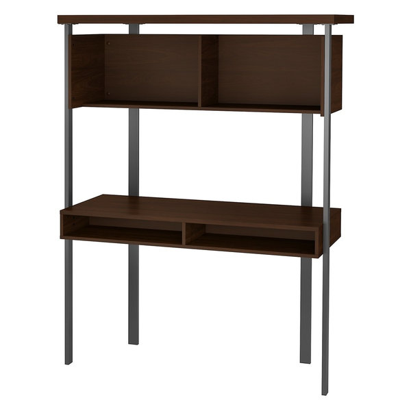 Bush Furniture Architect Small Computer Desk With Hutch, Modern Walnut