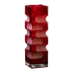 Large Ruby Etched Vase