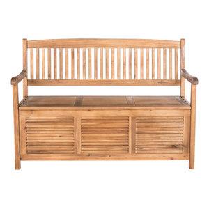 Teak Outdoor Devon Storage Bench 5 Contemporary
