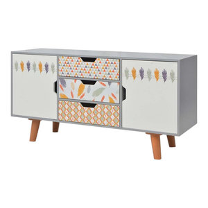 2-Door and 3-Drawer Traditional Sideboard, Feathers