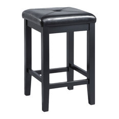 """Upholstered Square Seat Barstool, Black, 24"""" Seat Height, Set of 2"""