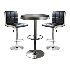 Offex 3-Piece Contemporary Two Tone Kitchen Bar Table and Stool Set