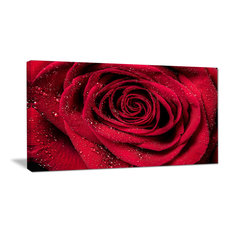 """""""Red Rose Petals With Rain Droplets"""" Canvas Print, 32""""x16"""""""
