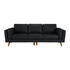 Sofamania - Mid Century Real Leather Sofa 3 Seater Tufted Loose Seat Cushions, Black - Sofas