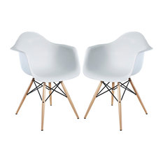 LexMod   Pyramid Dining Armchair Set Of 2 In White   Outdoor Dining Chairs