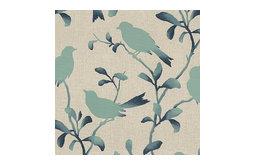 Aqua Bird Silhouette Cotton Fabric
