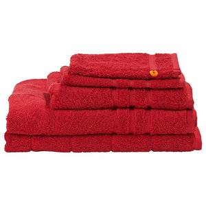 Daily Uni Towel Collection, Deep Red, Set of 5