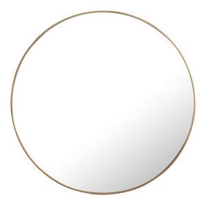 """48"""" Round Metal Frame Mirror, Brass"""