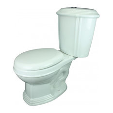 Dual Flush Round Front Two-Piece Toilet With No-Slam Seat White China