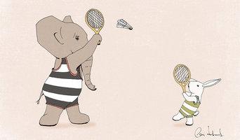 Nursery Art Print Badminton Game
