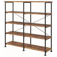 Analiese Industrial Four Tier Bookcase w/ Antique Nutmeg Finish and Black Frame