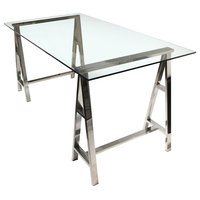 Deko Stainless Steel Desk With Clear, Tempered Glass Top