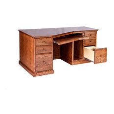 Traditional Oak Angled Computer Desk With Wood Knobs, Chestnut Oak, 74w