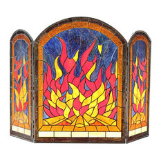 """CHLOE Flame Tiffany-Style 3pcs Arched Folding Fireplace Screen 42"""" Wide"""