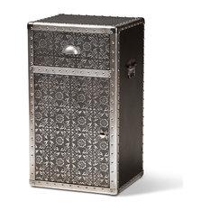 Baxton Studio Cosette Vintage Industrial Silver Metal Floral Accent Cabinet