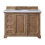 "Savannah 48"" Vanity, Driftwood, 4cm Carrara White Marble Top"