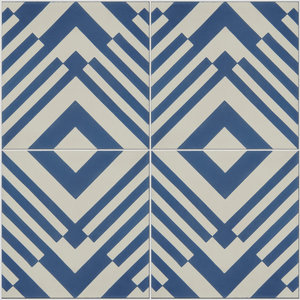 Origami Pattern Tiles, French Blue, Set of 12