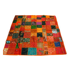 Mogulinterior - Indian Ethnic Orange Wall Hanging Sequin Embroidered Sari Tapestry Table Cloth - Tapestries