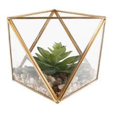 "Glass Square Open Top Terrarium With Faux Succulents Garden, Md, 7"""