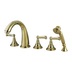 Kingston Brass Royale Roman Tub Filler With Hand Shower, Polished Brass