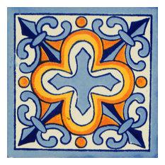 "4""x4"" Mexican Talavera Handmade Tiles, Set of 100"