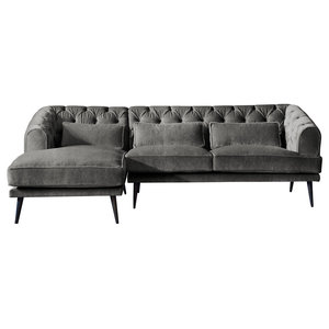 Earl Grey Chaise Sofa, Zinc, 3 Seater, Left Hand Facing