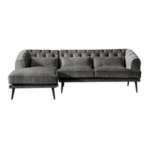 Earl Grey Chaise Sofa, Zinc, 3 Seater, Left Hand Facing