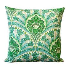"Green Polyester 18"" x 18"" Outdoor Throw Pillow, Set Of 2, Throw Pillow"
