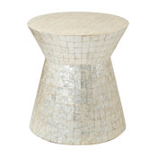 East At Main's Rossville Off-White Wood and Capiz Round Accent Table
