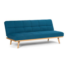 Beau Simpli Home Ltd.   Spencer Linen Look Sofa Bed, Mediterranean Blue   Sleeper  Sofas