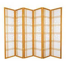6' Tall Double Cross Bamboo Tree Shoji Screen, Honey, 6 Panels