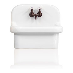 NEW Small Wall Mount High Back Deep Basin Utility Sink, White/Oil Rubbed Bronze