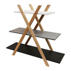Avone Retro 3-Tier Wood CrossxFrame Shelf Bookcase
