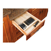 Rev-A-Shelf 4WKB-1 Trimmable Knife Block Insert With Divider, Wood, Maple