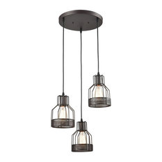 Industrial Kitchen Wire Cage Pendant Lighting 3-Light, Oil-rubbed Bronze