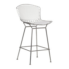 Wireback Stainless Steel Counter Stool White Seat Pad