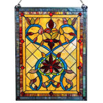 """River of Goods - 24"""" Tiffany Style Stained Glass Fiery Hearts and Flowers Window Panel, Amber - Inspire your space! This glass panel design incorporates flower petal elements with Edwardian hearts against a lattice background."""
