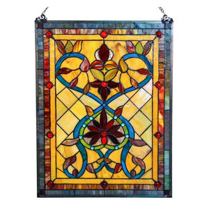 "24"" Tiffany Style Stained Glass Fiery Hearts and Flowers Window Panel, Amber"