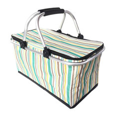 Collapsible Picnic Basket Insulated Picnic Basket Takeaway Box, Stripe