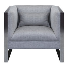 Armen Living - Royce Chair With Polished Stainless Steel and Gray Fabric - Armchairs and Accent Chairs