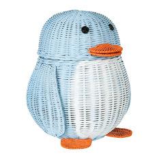 Wicker Penguin Basket, Multi-Color