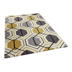 Hong Kong HK7526 Hexagon Grey Yellow Rug, 90x150 cm