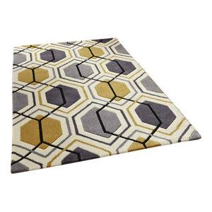 Hong Kong HK7526 Hexagon Grey Yellow Rug, 90x150 cm