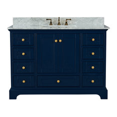 "Audrey Vanity Set, Heritage Blue, 48"", Gold Hardware, Carrara White Marble"