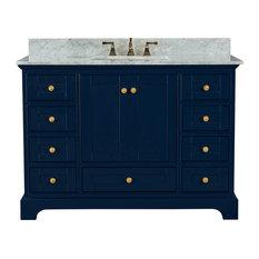 Audrey Vanity Set Heritage Blue 48-inch Gold Hardware Carrara White Marble