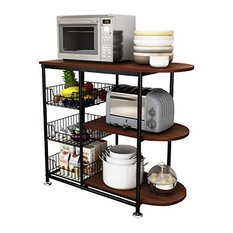 Kitchen Cart, 3 Tier Design With Metal Mesh Baskets, Black and Brown