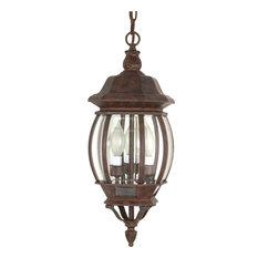 "Central Park 3 Light - 20"" Hanging Lantern Clear Beveled Glass"